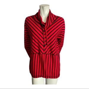 Jones New York Red and Black Striped Top S